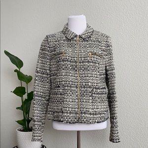 NWT Zara Tweed Jacket Zip Collar